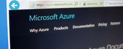 Microsoft Azure website displayed on a laptop screen